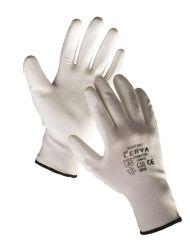 Ochranné rukavice bezešvé - BUNTING / bílé / vel.10